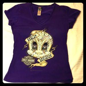 Harley Davidson Looney Toons Purple V Neck T Shirt
